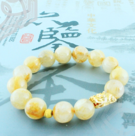 Vòng Đá Thạch Anh Tóc Vàng. Charm Tỳ Hưu Bạc Nguyên Chất Mạ Vàng Thật 18k - Size 10 Ly | Dụng Thần Thổ