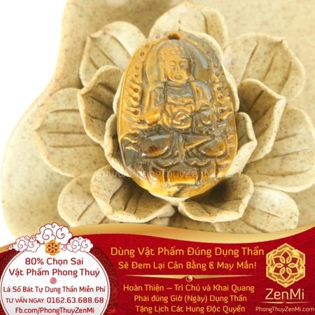 Mặt Dây Đức A Di Đà Phật - Đá Mắt Hổ - Tuổi Tuất + Hợi | Dụng Thần Thổ