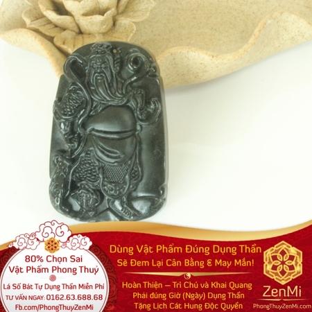 Mặt Dây Quan Công Võ Thánh - Đá Thiên Thạch Tektit - Làm Ăn Mau Mắn | Dụng Thần Thuỷ