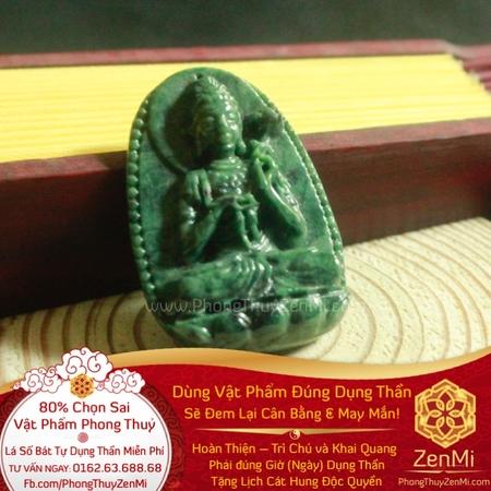 Mặt Dây Phật Đà Niêm Hoa Vi Tếu - Ngọc Ấn Độ - Bình An May Mắn | Dụng Thần Mộc