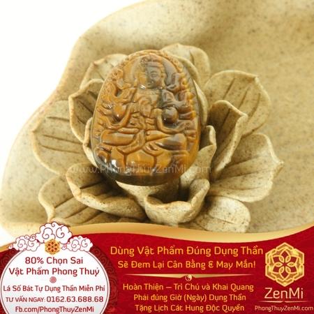 Mặt Dây Phật Bản Đại Nhật Như Lai - Đá Mắt Hổ - Tuổi Mùi + Thân | Dụng Thần Thổ